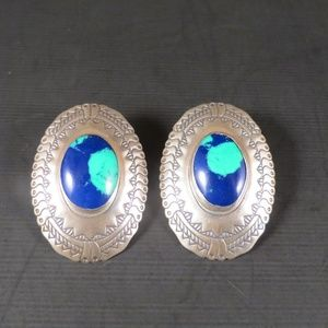 VTG Southwest Style Sterling and Azurite Earrings